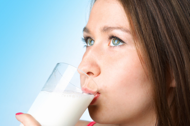 woman with glass milk